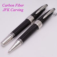 Wholesale 2016 John F Kennedy Special Edition Black Carbon Fiber Ballpoint Rollerball Pen Luxury Brand mb Pen With JFK Clip