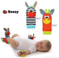 Wholesale New Lamaze Style Sozzy rattle Wrist donkey Zebra Wrist Rattle and Socks toys set wrist socks