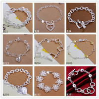 big diamond chains - Heart diamond big flower sterling silver bracelet pieces mixed style GTB7 Brand new high grade fashion women s silver bracelet