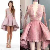 Wholesale High Low Cocktail Dresses Short Prom Dresses With Sexy Plunging Neckline Lace Appliqued Illusion Long Sleeves Custom Made A Line