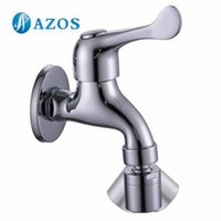 basin tap parts - AZOS Mop Bibcock Single Cold Wall Mounted Chrome Polish Outdoor Garden Tap Bathroom Basin Faucet Toilet Parts Replacement PJTB003