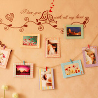 Wholesale Fashion Hot Decoration Home Art Wall quot Hanging Photo Picture Frames Wood Clips Rope