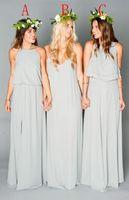 Wholesale 2016 New Beach Chiffon Long Bridesmaid Dresses Ruffles Bohemian Floor Length Summer Two Pieces Split Party Maid of Honor Bridesmai Gowns