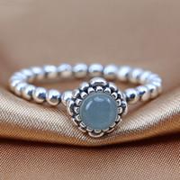 achat en gros de charme européen aquamarine-100% S925 argent sterling de style européen bijoux Pandora Anniversaire Blooms Mars Bague avec Aquamarine Fashion Anneau Charm