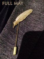 Wholesale 2015 Men Retro Golden Leaf Feather Brooch Pins Collar Suit Stick Breastpin Lapel Pin Men s Suit XZ