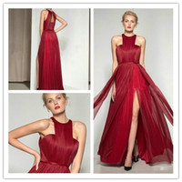 Wholesale The new hot code custom deep red side vent sexy long legs dress Special Occasion Dresses Pageant Dresses bra back zipper grasp fold