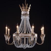 Wholesale Large Iron Pendant Light - Vintage Retro Crystal Chandelier Lamps Wrought Iron Large Crystal Chandelier Lighting For Hotel Lobby Living Room