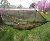 Wholesale Portable High Strength Parachute Fabric Camping Hammock Hanging Bed With Mosquito Net Sleeping Hammock camouflage Army green
