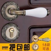 antique interior door knobs - European style interior bedroom door wooden door lock rose carved antique copper ceramic split door lock
