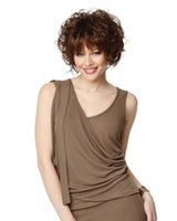 Wholesale New Hot Style Fashion Comfortable European Women Brown Bangs Short And Curly Wig Hair Apply To Any Skin Color