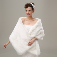 Wholesale 2016 Hot Faux Fur Wedding Bridal Wrap Ivory Red Black Pink Woman Shawl Cape Stole In Stock