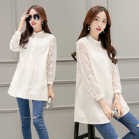 Wholesale 2016 Autumn new women s Lace single breasted POLO collar Elegant fashion simple pure color long sleeved shirt female blouse