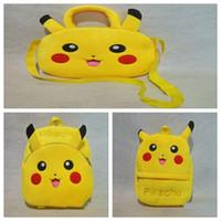 Wholesale 3 Styles Kids Pikachu Backpack Poke Go Plush School Bag Cartoon Infantil Backpack Baby Mochila For Xmas Birthday Gift