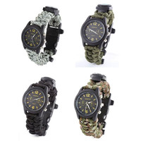 Wholesale Survival Bracelet Whistle Clasp - Outdoor Military survival gear Paracord Bracelet Watch With Compass Whistle Multifuctional 6 in 1 550 paracord DHL Free Shiping