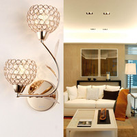 Wholesale 1 piece Modern double headed crystal wall lamp Staircase corridor wall lamp Fashion decorative lighting