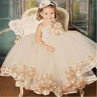 Wholesale 2016 Hot Selling Lovely Girl Dresses Thin Straps Handmade Flower Champagne Tulle Child Dress Good Quality