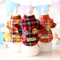 bibi shoes - Autumn and winter pet clothing new patch plaid shirt for dogs Teddy Bibi Chihuahua dog warm clothes