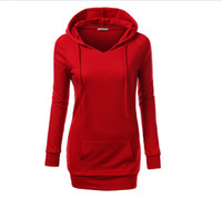 Wholesale Solid Color Fashion Long Hoodies Women Casual Hoodies Kangaroo Pockets Slim Fit Sweatshirts Sports Outwears Under FS0937