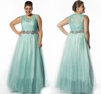 Wholesale 2016 A line Mint Lace Tulle Beaded Belt Long Plus Size Prom Dresses For Full Figure Women Crystals Sheer Neck Girls Prom Gowns