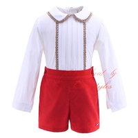 Wholesale Cutestyles Fancy Boutique Lace Hem Clothing Sets For Boys Long Sleeves White Shirts Red Shorts Baby Children Fall Casual Wear B DMCS908