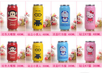 anime travel mugs - DHL Cartoon Vacuum Thermos Mug Cola Stainless Steel Anime Figures Coffee Cup With Lids Straw VS Hydro Flask Water Bottle