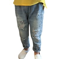 baby blue skinny jeans - Autumn Winter Jeans for Kids Girls Boys Big Hole Ripped Cotton Trousers Skinny Children Pants Casual Light Blue Fashion Baby Denim Jeans