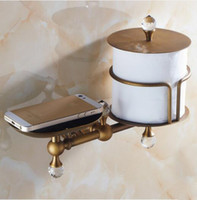 Wholesale High Quality Bathroom Toilet Paper Roll Rack Holder Soap Dish Shelf Crystal Brass Antique Finishes Wall Mounted Installation Type