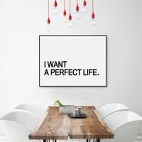 al por mayor marcos de cuadros perfectos-Negro Blanco Tipografía minimalista Impresión de arte A4 de la vida perfecta Cartel Impresión de la pared de la sala de estar Imagen Pintura de la lona No Frame