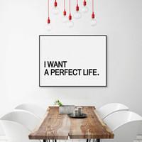 achat en gros de parfaits cadres-Noir Blanc Typographie minimaliste Citation de vie parfaite A4 Affiche d'impression d'art Tableau de salon Décor mural Image Tableau toile Aucun cadre