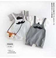 Wholesale new summer kids gray striped and white striped overalls pants Children s suspenders slacks BH1929