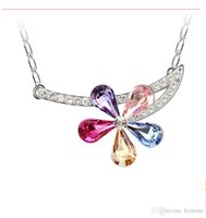 austrian crystal jewelry offers - Special offer South Korean jewelry Austrian crystal flower pendant necklace woman fashion collarbone chain B19