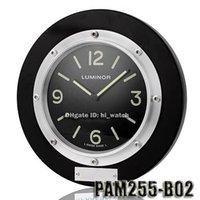 aviation europe - Super Clone Luxury Brand Design Cheap round PAM High quality Black solid wood aviation aluminum Wall Clock Big Numerals Luminous Watch