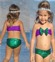 Wholesale Fashion Baby Girls Swimwear Shining Mermaid Children Tankini Swimsuit For Kids Bikini Sets Summer Bathing Suit S8001