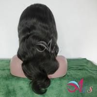 al por mayor onda del cuerpo 7a sin cola-Peluca delantera 7A pelucas del pelo humano sin cola llena del cordón del cordón de la peluca la onda del cuerpo negro natural de Brasil Remy pelucas de pelo con el pelo del bebé