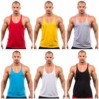 Wholesale Cheap Colors Cotton Stringer Bodybuilding Equipment Fitness Gym Tank Top shirt Solid Singlet Y Back Sport clothes Vest