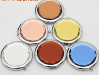 Wholesale Engraved Cosmetic Compact Mirror Cosmetic Mirrors Pocket Mirror Professional Makeup Tools Best Gift for wedding favor party By DHL