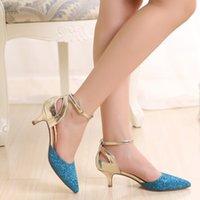 al por mayor estiletes puntiagudos-Verano estilo puntiagudo dedo del pie stilettos bombas zapatos elegante lentejuelas correas sandalias más tamaño para las mujeres envío gratuito