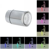 Wholesale Mini Pure Copper Glow LED Light Water Stream Faucet Tap Color Changing Automatically Basin Faucets