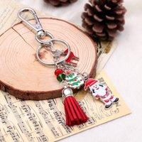 Wholesale Christmas Trees For Cheap - Cheap red cute keychain for christmas jewelry llavero porte clef Santa Claus key chain portachiavi christmas tree car keychain