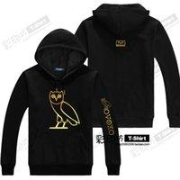 add jackets - 100 Cotton OVO Drake rap Ovoxo HIPHOP Black Jumper Men s Hooded Fleece Spring Autumn Winter add Wool Warm Hoodies Men Sweatshirts Jackets