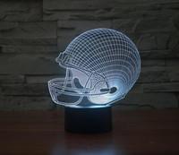 achat en gros de lumière de nuit gradient-Casque de football Acrylique Night Light 3D LED Touch Switch Coloré gradient Illusion Lampe de table Home Decor USB Lamp