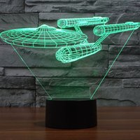 Wholesale Star Trek USS Enterprise D LED Night Light Decoration Lamp Color Key Switch Table Desk Lamp