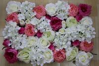 Wholesale EMS Artificial silk Peony rose Hydrangea flower wall wedding background market decoration