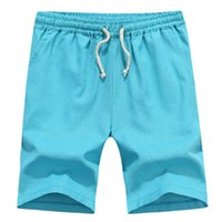 Wholesale Sportmen Beach Board Shorts Summer Style Swimwear Masculina Shorts M XL Solid Linen Trunks Elastic Waist Trousers