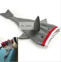 bar sofas - 3D Fish Shark Tail Blankets Handmade Mermaid Blankets Manual Mermaid Tail Sleeping Bags Sofa Crochet Knitted Blankets Bed Snuggle in B164