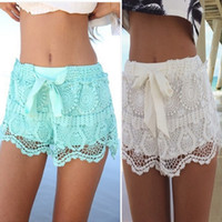 Wholesale Summer Lace Women Shorts Hot Sale Popular Fashion Bow High Waist Elastic Waist Beach Shorts White Green In Stock