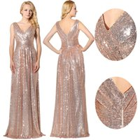 Wholesale Rose Gold Sparkly Sequins Cheap Long Formal Prom Party Dresses Royal Blue V neck Elegant Real Image Occasion Evening Gowns