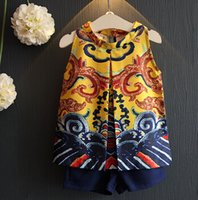 Cheap 2016 New Summer Kids Girl Clothing Fashion Printed Vest Tops + Short Pants 2Pcs Sets Children Sleeveless Casual Sets A11366