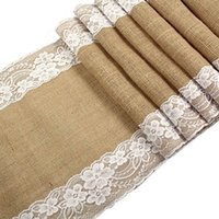 Wholesale 30x275cm Vintage Burlap Lace Hessian Table Runner Natural Jute Country Party Wedding adornment decoration