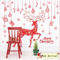 bathroom wall hung - Merry Christmas Hanging Pieces Elk Deer Wall Stickers Festival Wall Decals for Room Glass Window Home Decor WS293